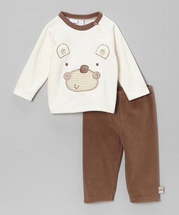 Cream Bear Raglan Top & Brown Pants