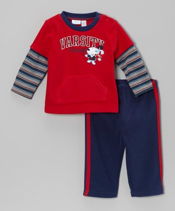 Red 'Varsity Champ' Layered Tee & Blue Pants