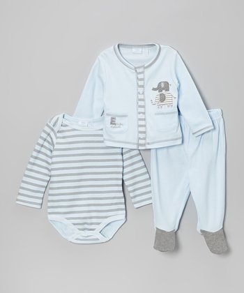 Powder Blue Elephant Cardigan Set