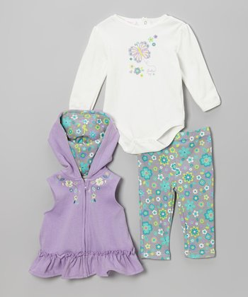 Purple Flower Blossom Hooded Vest Set
