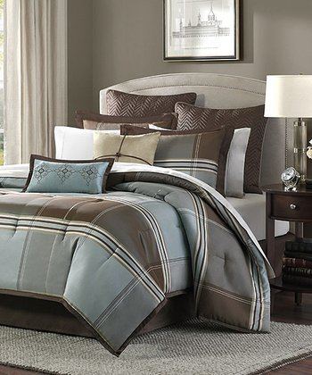 Blue & Brown Plaid Allyson Comforter Set