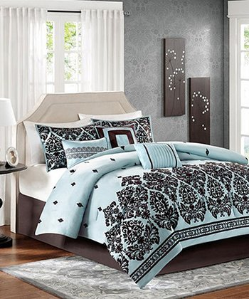 Blue & Brown Ornate Alex Comforter Set