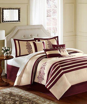 Red & Beige Stripe Annie Comforter Set