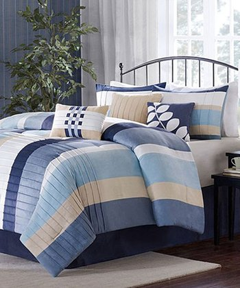 Blue Vertical Stripe Amanda Comforter Set