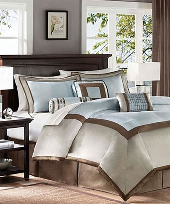 Blue & Brown Square Amy Comforter Set