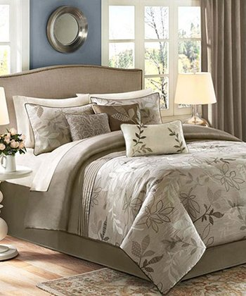 Tan Leaves Anaka Comforter Set