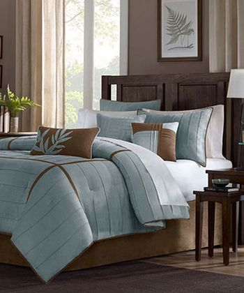 Blue & Brown Line Andrea Comforter Set
