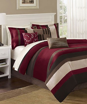 Red & Brown Stripe Ann Comforter Set