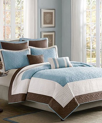 Blue & Brown Square Becca Coverlet Set