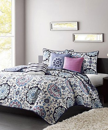Blue & Purple Floral Becky Quilt Set