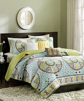 Blue & Green Circle Bess Quilt Set