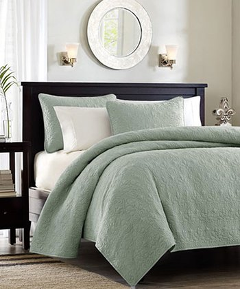 Seafoam Ornate Beth Coverlet Set