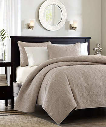 Khaki Ornate Beth Coverlet Set