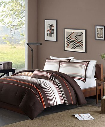 Brown & Orange Stripe Brandy Comforter Set