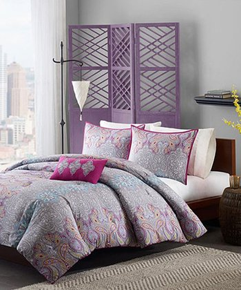 Gray & Pink Ornate Bridget Comforter Set