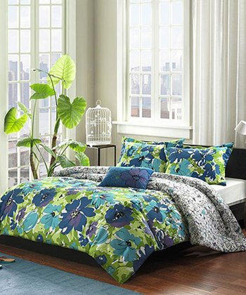Blue & Green Floral Britta Comforter Set