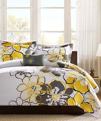Gray & Yellow Floral Carley Comforter Set