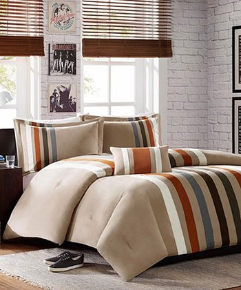 Khaki & Blue Stripe Christina Comforter Set