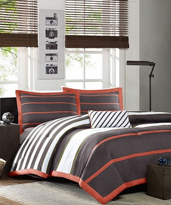 Gray & Orange Stripe Christina Comforter Set