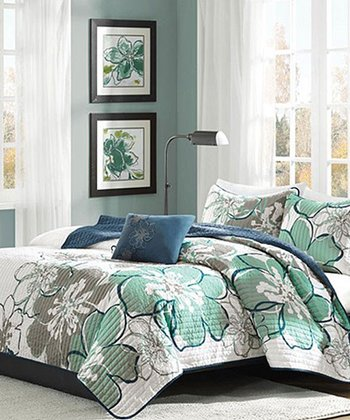 Blue & Green Festive Floral Crystal Quilt Set