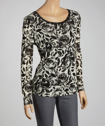 Black & White Rose Long-Sleeve Top - Women