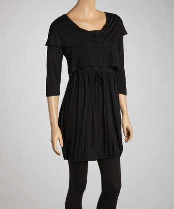 Black Tiered Tie-Waist Dress - Women