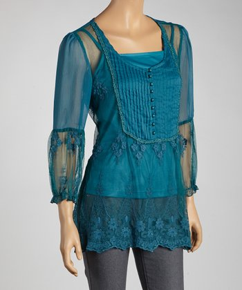 Teal Lace Peasant Top