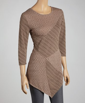 Coffee Wave Patchwork Top - Women