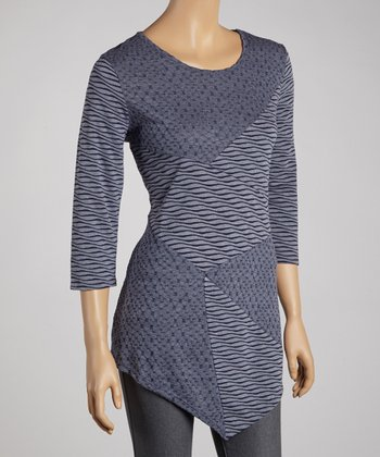 Indigo Wave Patchwork Top - Women