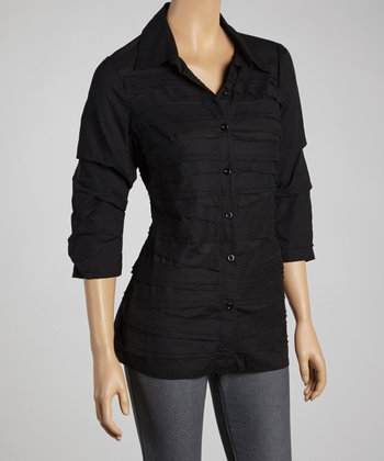Black Shutter Pleat Button-Up - Women