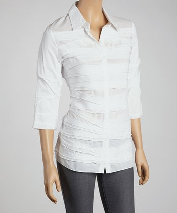 White Shutter Pleat Button-Up