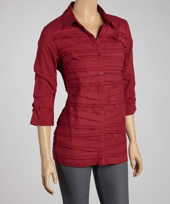Wine Shutter Pleat Button-Up - Women