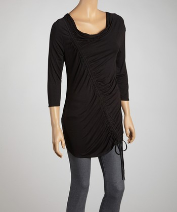Black Asymmetrical Ruched Top - Women