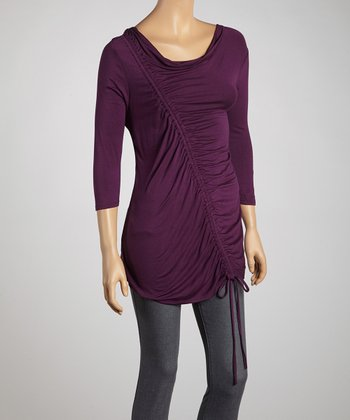 Plum Asymmetrical Ruched Top - Women
