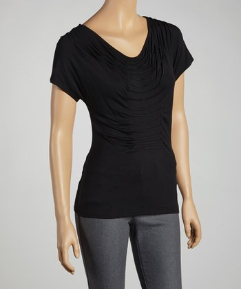 Black Pleated Top - Women