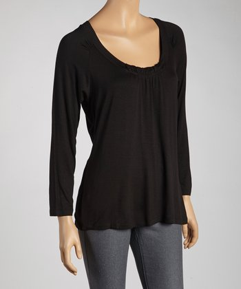 Black Ruched Scoop Neck Top - Women