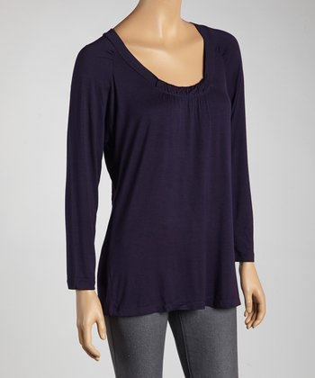 Indigo Ruched Scoop Neck Top - Women