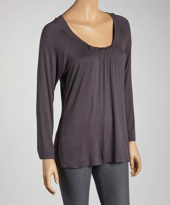 Slate Ruched Scoop Neck Top - Women
