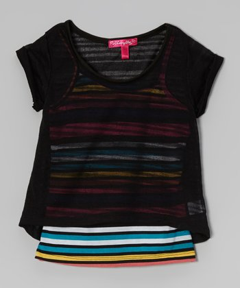Black Stripe Layered Top - Toddler