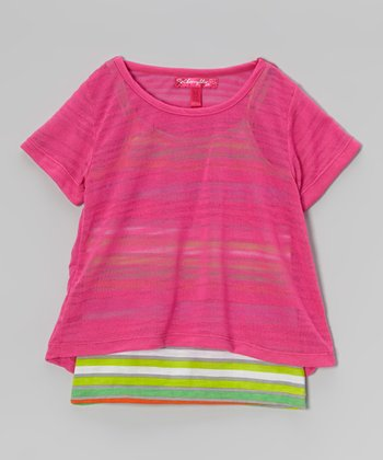 Lollipop Pink & Lime Stripe Layered Top - Toddler