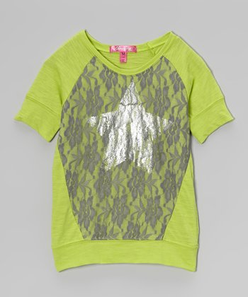 Bright Apple Green Star Top - Girls