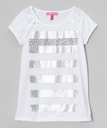 White Metallic Stripe Top - Girls