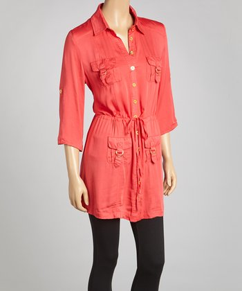 Peach Gold-Button Tunic