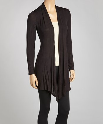 Black Sheer Open Cardigan