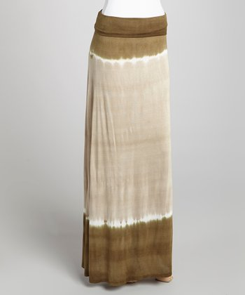 Brown Dip-Dye Maxi Skirt