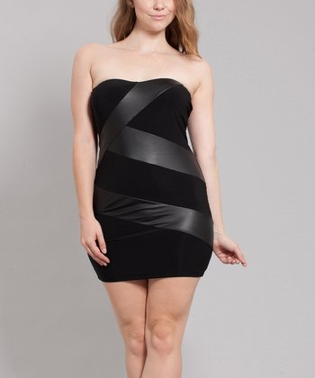 Black Vendetta Mini Strapless Dress - Plus