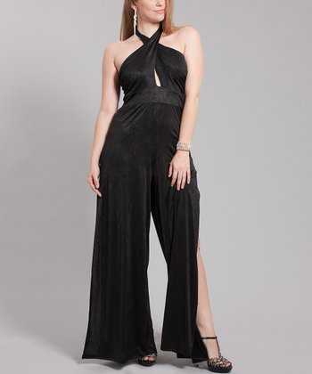 Black Mattified Halter Jumpsuit - Plus