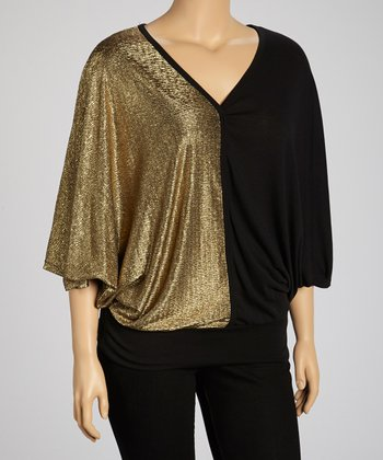 Black & Gold Color Block Cape-Sleeve Top - Plus