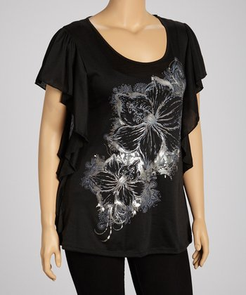 Black Floral Cape-Sleeve Top - Plus