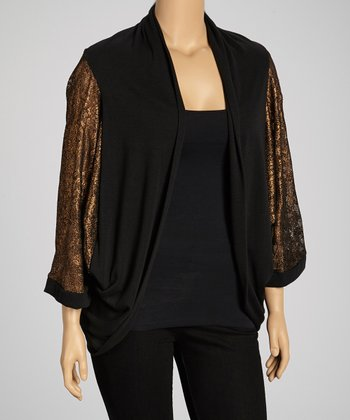 Bronze & Black Lace-Back Hacci Open Cardigan - Plus